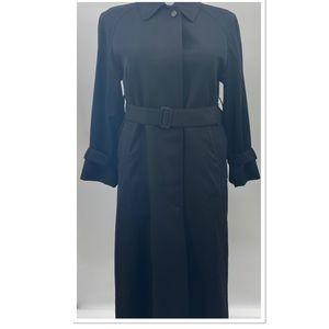 BURBERRY Vintage Trench Coat Black 100% Wool Sz 4